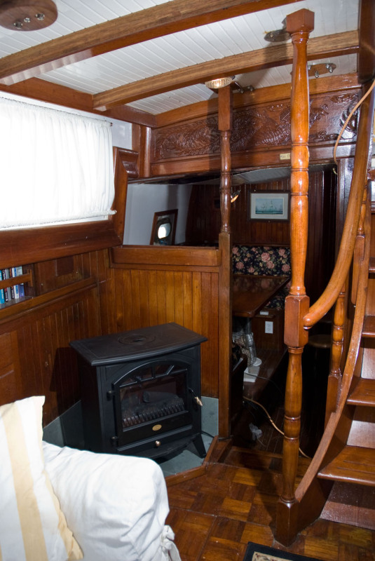 sailboat interior, stairs, stove - Interior - 54' Ketch For Sale